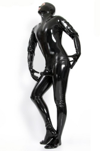 Cat dildo hood rubber suit