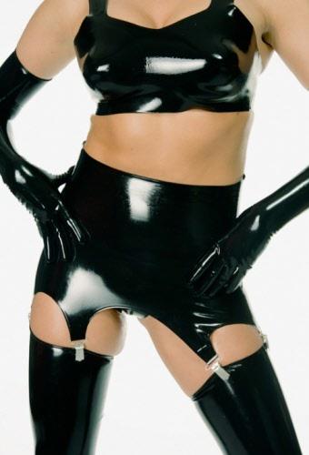 Latex high waisted suspender belt